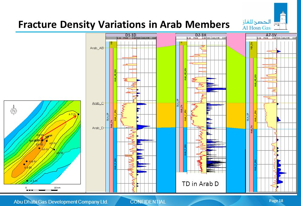 Abu Dhabi Gas Development Company Ltd. CONFIDENTIAL Page 18 Fracture Density Variations in Arab Members A1-1V A 6-1V A 3-2S A 4-1V A5-1D A2-1V A 7-1V