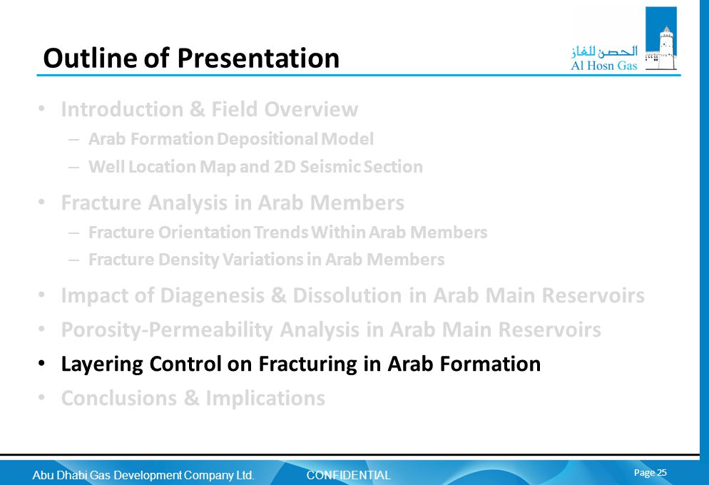 Abu Dhabi Gas Development Company Ltd. CONFIDENTIAL Page 25 Outline of Presentation Introduction & Field Overview – Arab Formation Depositional Model