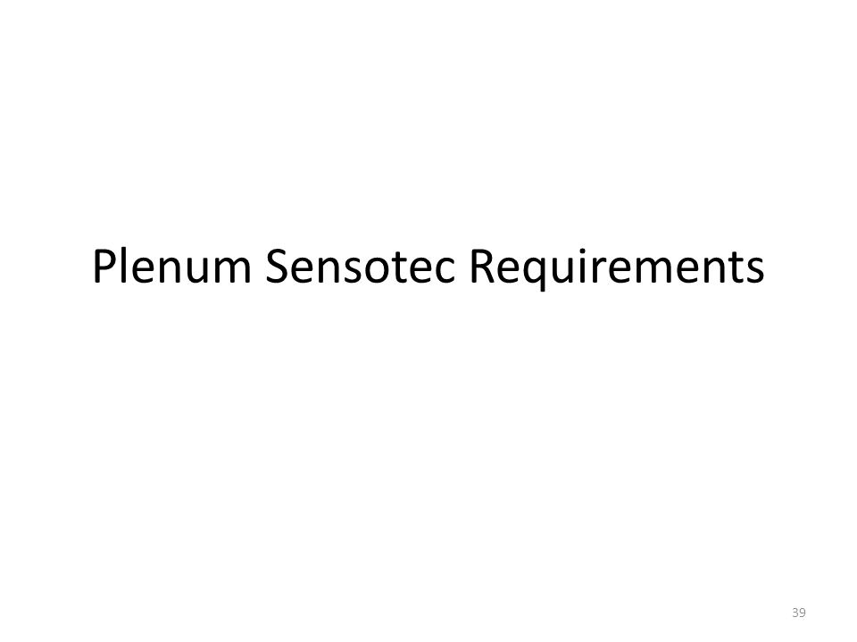 Plenum Sensotec Requirements 39