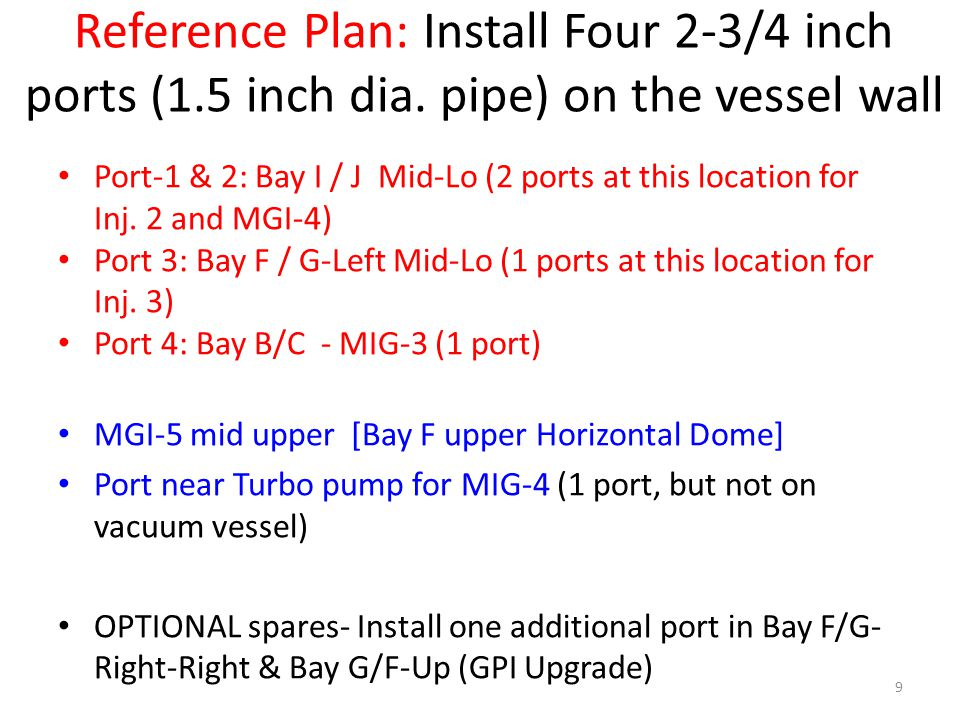 Reference Plan: Install Four 2-3/4 inch ports (1.5 inch dia. pipe) on the vessel wall Port-1 & 2: Bay I / J Mid-Lo (2 ports at this location for Inj.