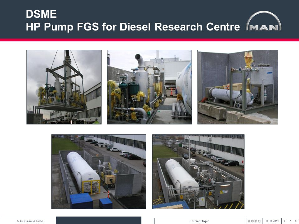 8 < >MAN Diesel & TurboAuthorCurrent topic00.00.2012 <8><8> HHI HiGAS for 7S80ME-C8.2-GI at test bed Title Prototype Hi-GAS
