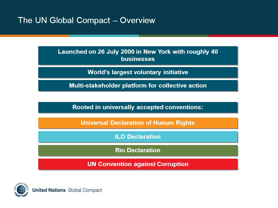 The UN Global Compact – Overview Launched on 26 July 2000 in New York with roughly 40 businesses UN Convention against Corruption Rooted in universally accepted conventions: Universal Declaration of Human Rights ILO Declaration Rio Declaration Worlds largest voluntary initiative Multi-stakeholder platform for collective action