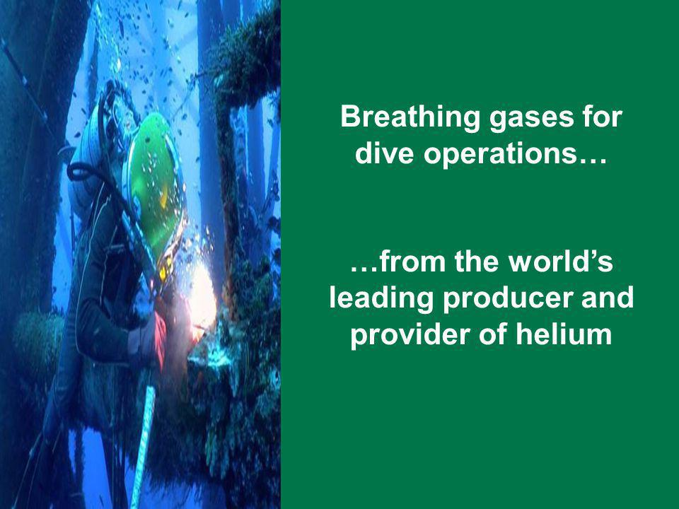 Breathing gases for dive operations… …from the worlds leading producer and provider of helium