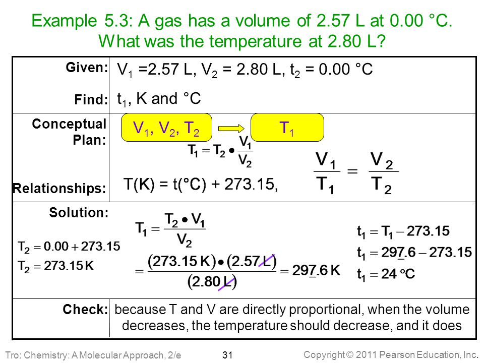 Copyright © 2011 Pearson Education, Inc.Example 5.3: A gas has a volume of 2.57 L at 0.00 °C.
