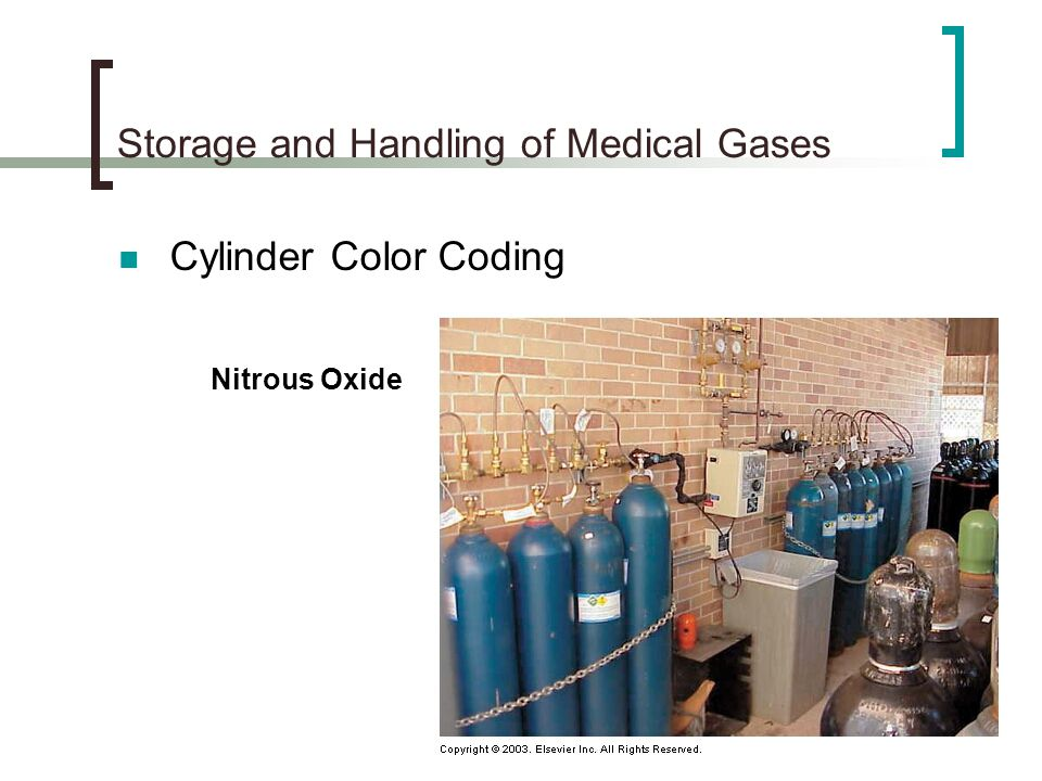 Storage and Handling of Medical Gases Cylinder Color Coding Nitrous Oxide