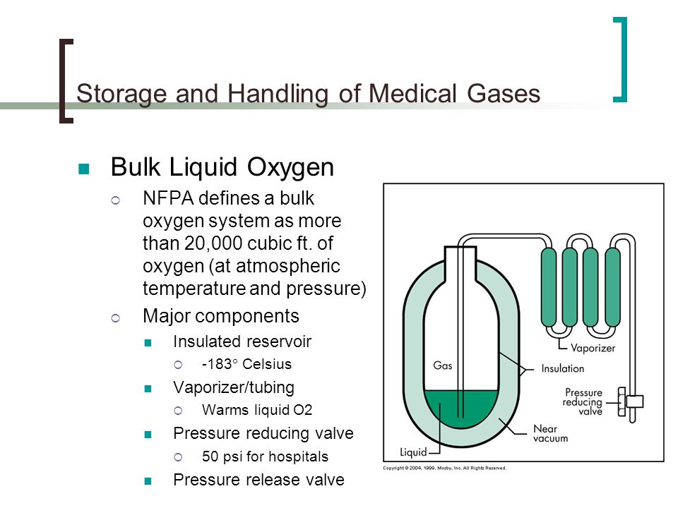 Storage and Handling of Medical Gases Bulk Liquid Oxygen NFPA defines a bulk oxygen system as more than 20,000 cubic ft. of oxygen (at atmospheric tem