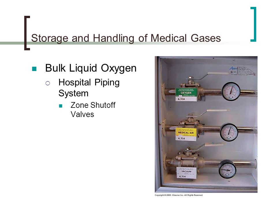 Storage and Handling of Medical Gases Bulk Liquid Oxygen Hospital Piping System Zone Shutoff Valves