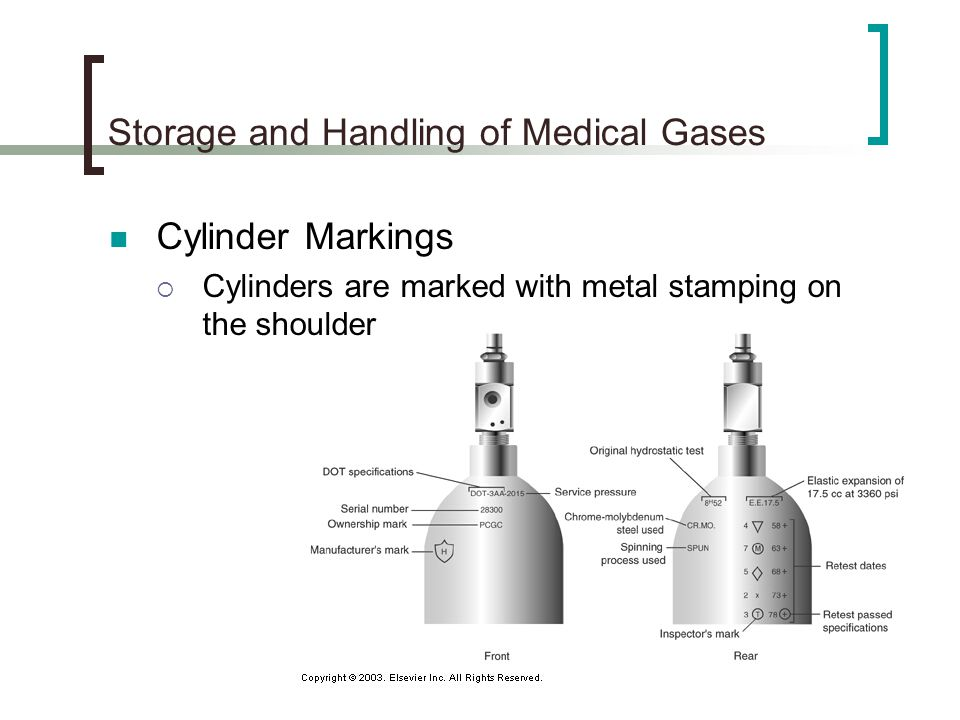 Cylinder Markings If an asterisk (*) is present after the test date, the cylinder may go 10 years before being tested again May be stamped with DOT or ICC (Interstate Commerce Commission) A plus (+) means the cylinder is approved for filling to 10% above service pressure