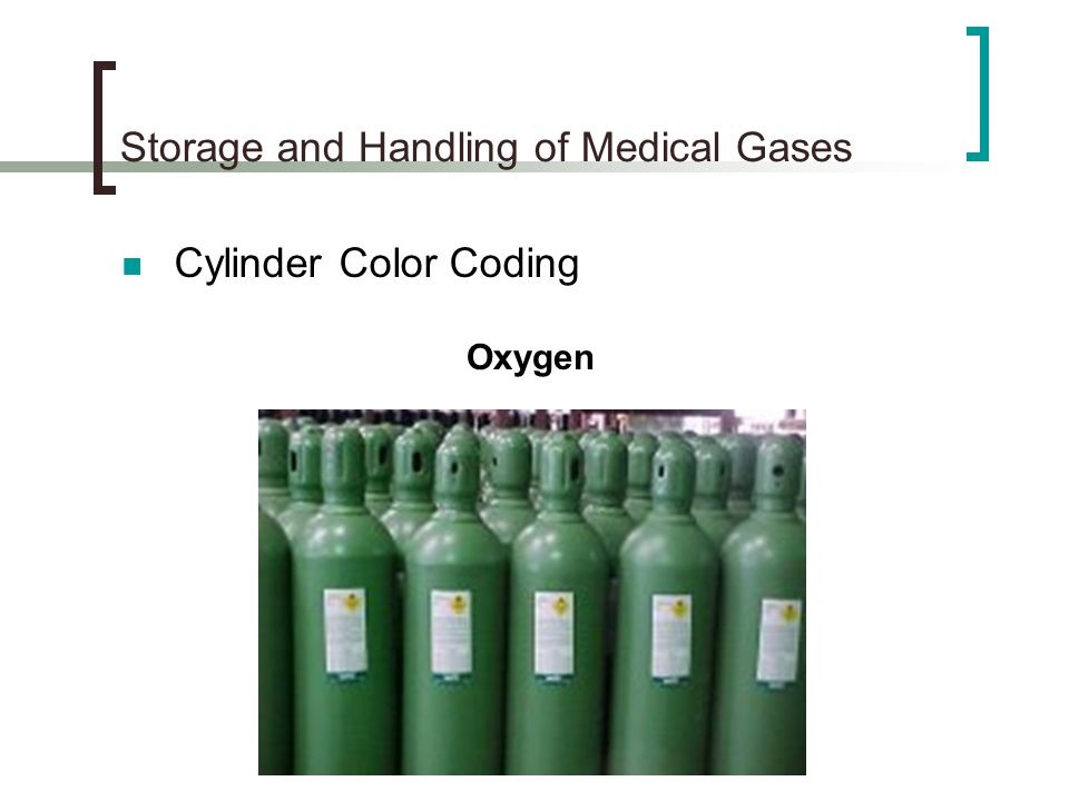 Storage and Handling of Medical Gases Duration of Gas Flow H Cylinders contains 244 cubic feet of oxygen when full (2200 psi pressure) One cubic foot of oxygen equals 28.3 liters Tank Factor 244 cu ft (28.3 liters/cu ft.)= 3.14 liters/psi 2200 psi