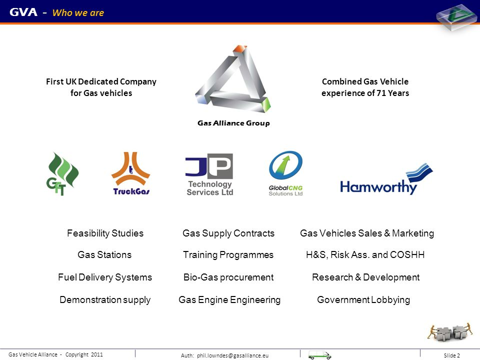 Auth: phil.lowndes@gasalliance.eu Slide 20 GVA - CNG / BioGas fast fill unit Gas Vehicle Alliance - Copyright 2011 Site specific design (gas quality, space, access etc.) Fuel management Station HSSE & training Low inventory of stored gas.