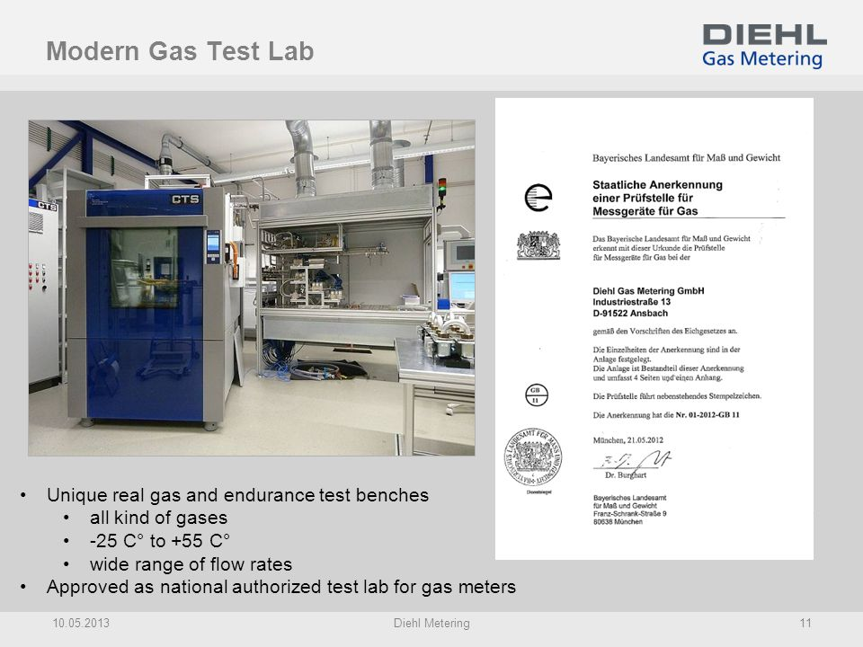 Modern Gas Test Lab Unique real gas and endurance test benches all kind of gases -25 C° to +55 C° wide range of flow rates Approved as national author
