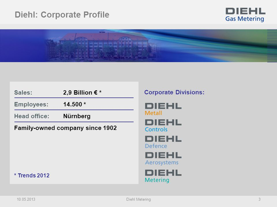 Diehl Group: Corporate Divisions Semi-finished products and forged parts of copper and copper alloys Controls for domestic appliances Systems for defence and homeland security Systems to equip cabins and avionics Water & Energy Metering as well as Smart Metering solutions 10.05.2013Diehl Metering4