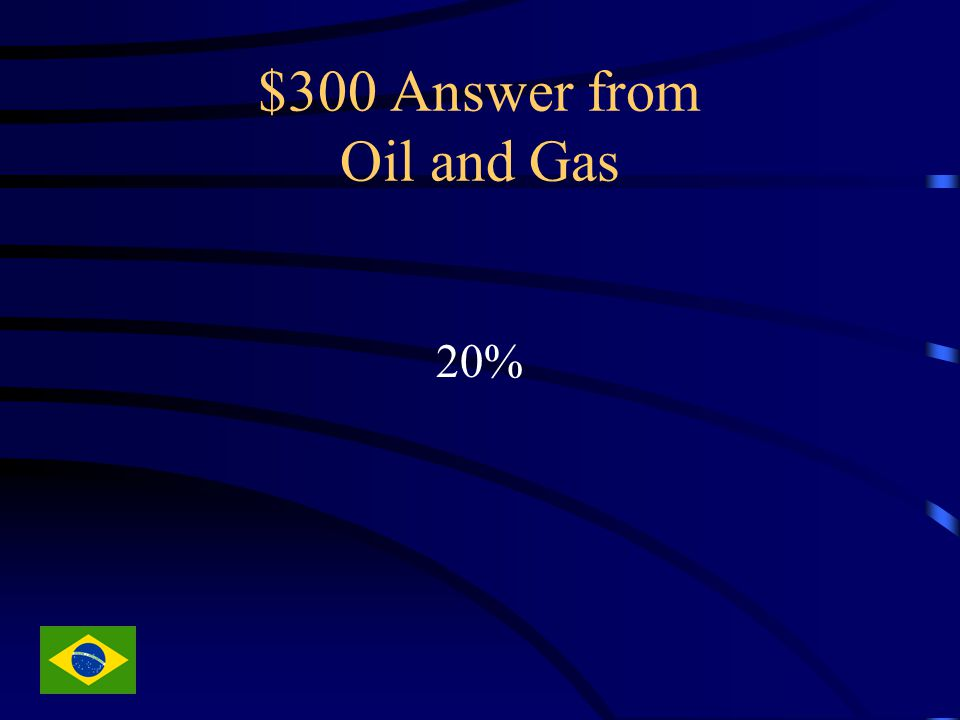 $300 Answer from Oil and Gas 20%
