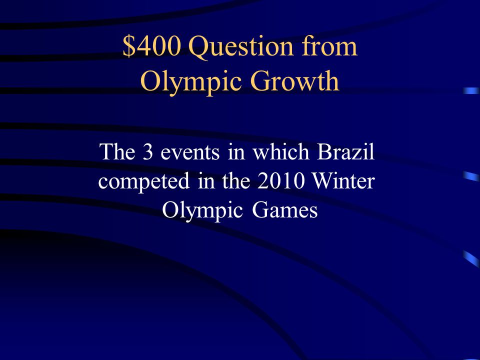 $400 Question from Olympic Growth The 3 events in which Brazil competed in the 2010 Winter Olympic Games