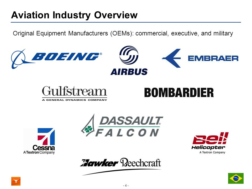 - 4 - Aviation Industry Overview Original Equipment Manufacturers (OEMs): commercial, executive, and military