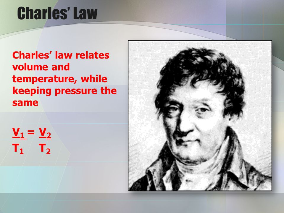 Charles Law Charles law relates volume and temperature, while keeping pressure the same V 1 = V 2 T 1 T 2