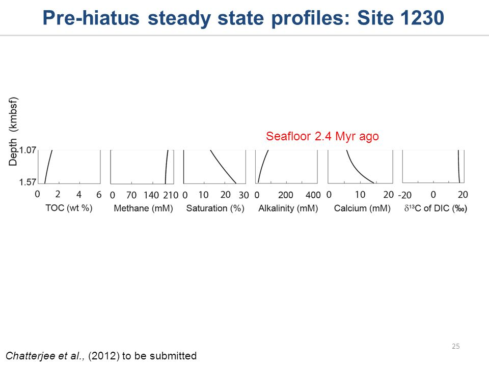 Seafloor 2.4 Myr ago Pre-hiatus steady state profiles: Site 1230 25 Chatterjee et al., (2012) to be submitted