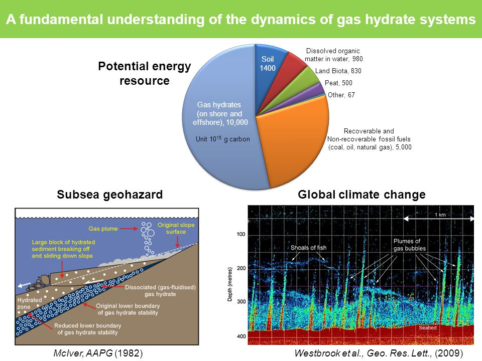 Motivation Potential energy resource Subsea geohazardGlobal climate change McIver, AAPG (1982) Westbrook et al., Geo.