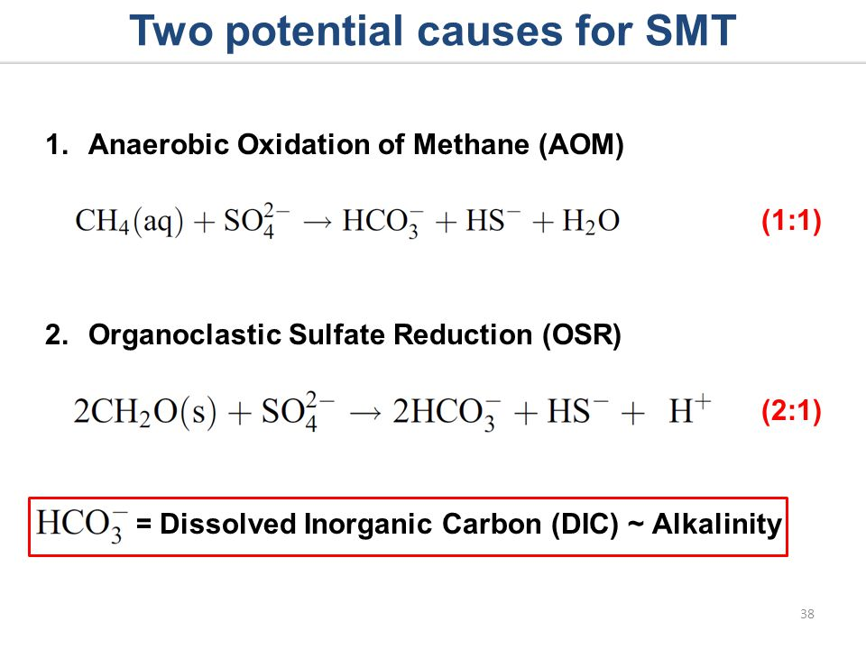 1.Anaerobic Oxidation of Methane (AOM) (1:1) 2.Organoclastic Sulfate Reduction (OSR) (2:1) Two potential causes for SMT 38 = Dissolved Inorganic Carbon (DIC) ~ Alkalinity