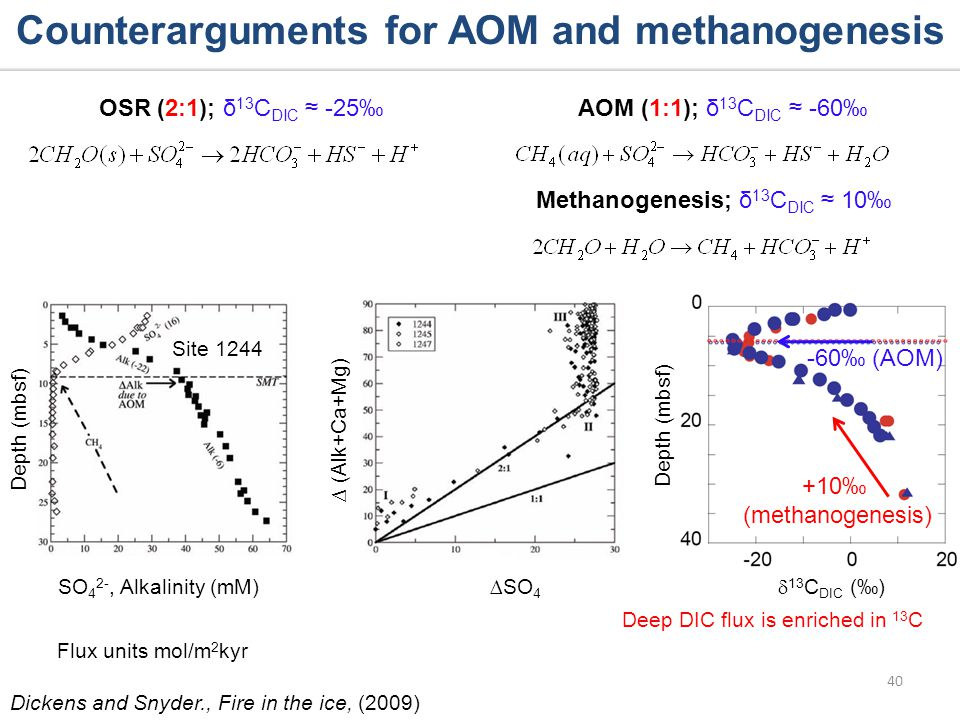 Depth (mbsf) (Alk+Ca+Mg) 40 Site 1244 Dickens and Snyder., Fire in the ice, (2009) Depth (mbsf) Counterarguments for AOM and methanogenesis Methanogenesis; δ 13 C DIC 10 Flux units mol/m 2 kyr SO 4 2-, Alkalinity (mM)SO 4 +10 (methanogenesis) -60 (AOM) Deep DIC flux is enriched in 13 C OSR (2:1); δ 13 C DIC -25 AOM (1:1); δ 13 C DIC -60 13 C DIC ()