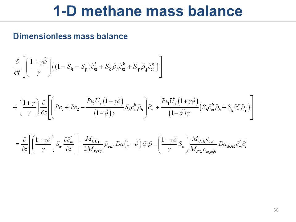 1-D methane mass balance Dimensionless mass balance 50