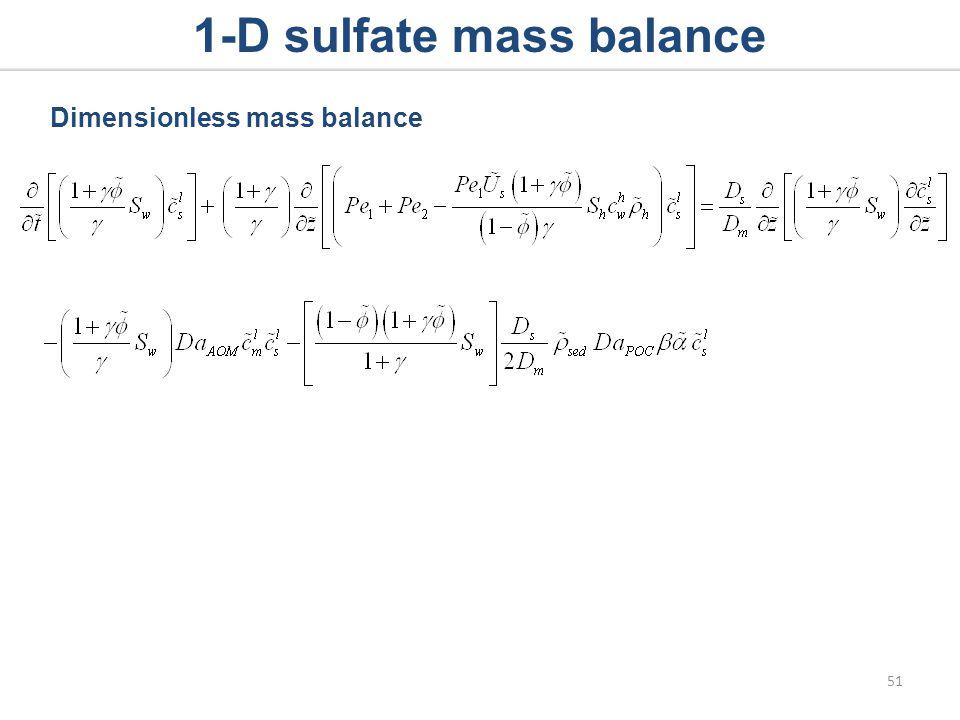 1-D sulfate mass balance Dimensionless mass balance 51
