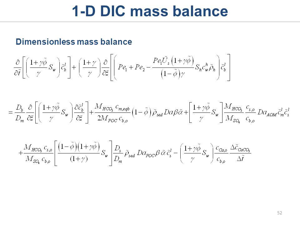 1-D DIC mass balance Dimensionless mass balance 52