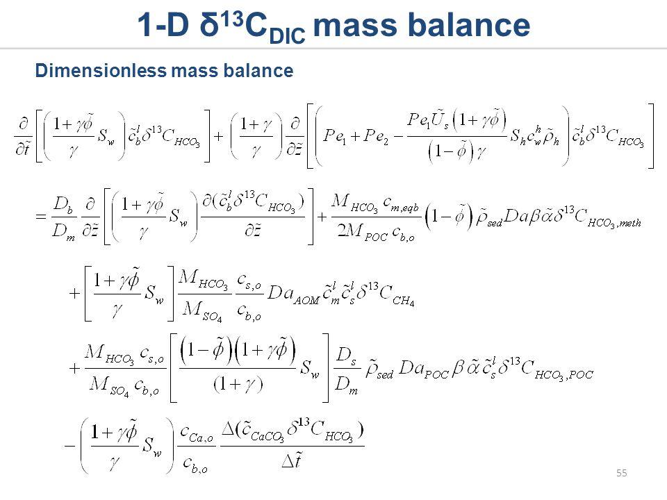 1-D δ 13 C DIC mass balance Dimensionless mass balance 55