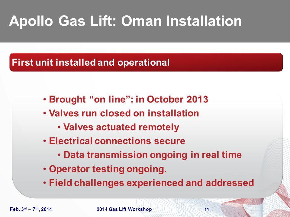 Apollo Gas Lift: Oman Installation Feb.
