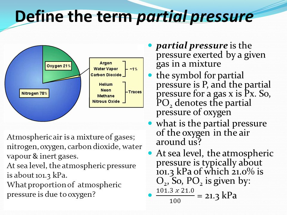 Define the term partial pressure Atmospheric air is a mixture of gases; nitrogen, oxygen, carbon dioxide, water vapour & inert gases. At sea level, th