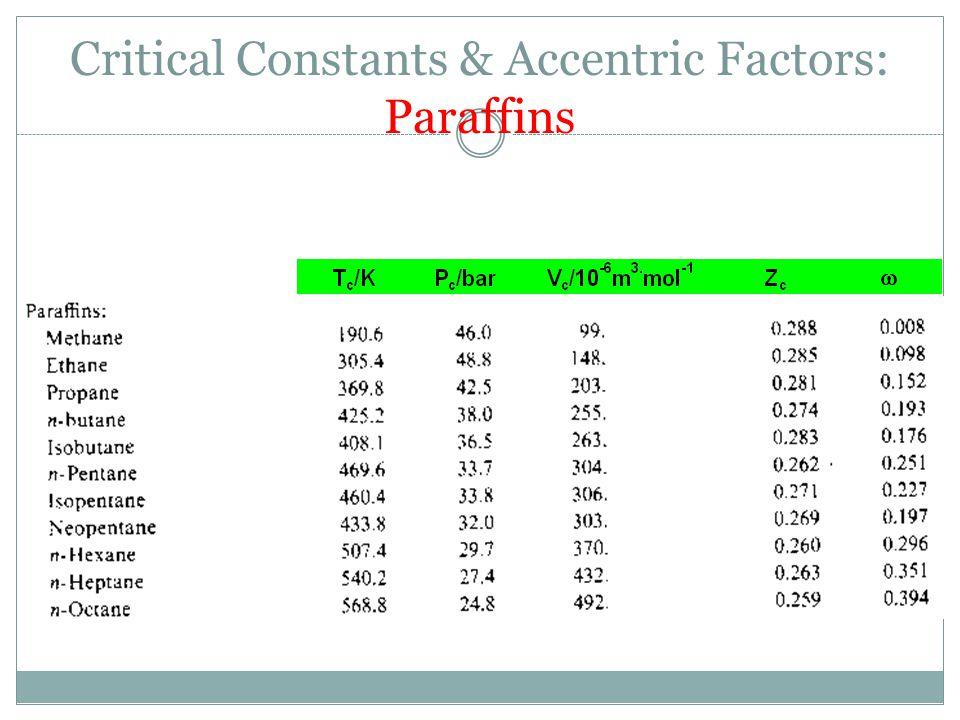 Critical Constants & Accentric Factors: Paraffins