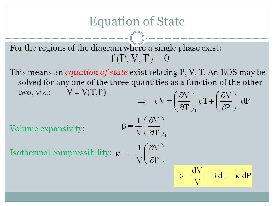 For the regions of the diagram where a single phase exist: This means an equation of state exist relating P, V, T.