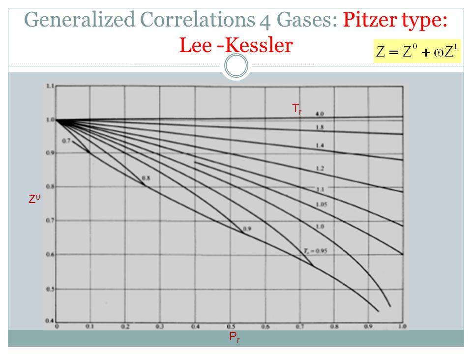 Z0Z0 PrPr TrTr Generalized Correlations 4 Gases: Pitzer type: Lee -Kessler