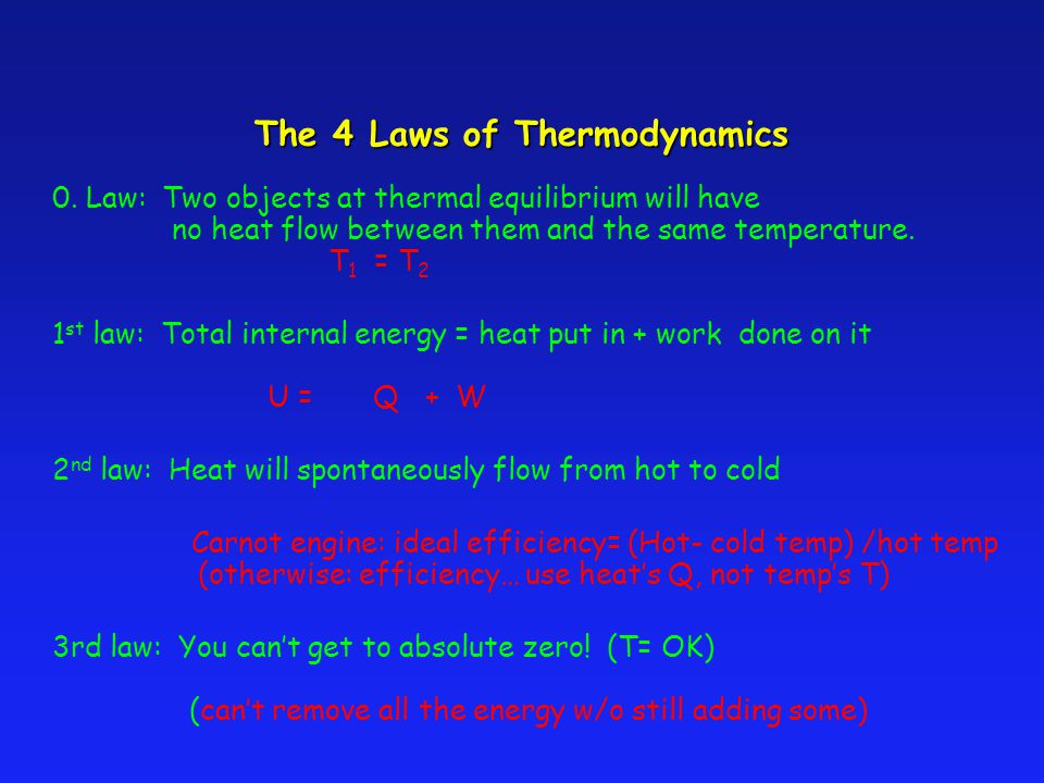First Law of Thermodynamics The internal energy of a system tend to increase when HEAT is added and work is done ON the system.