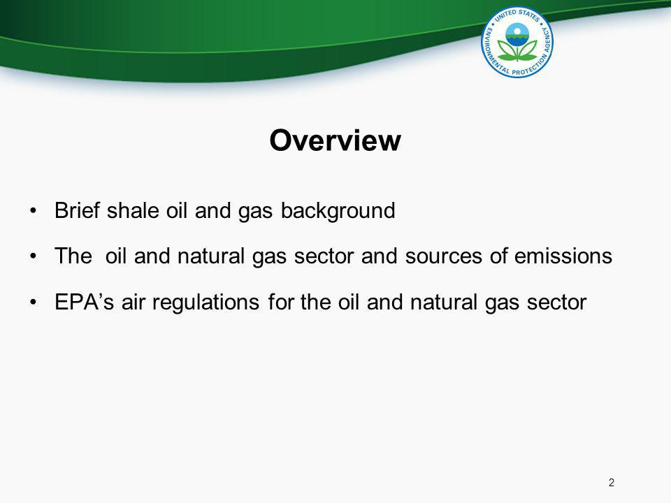 Overview Brief shale oil and gas background The oil and natural gas sector and sources of emissions EPAs air regulations for the oil and natural gas s