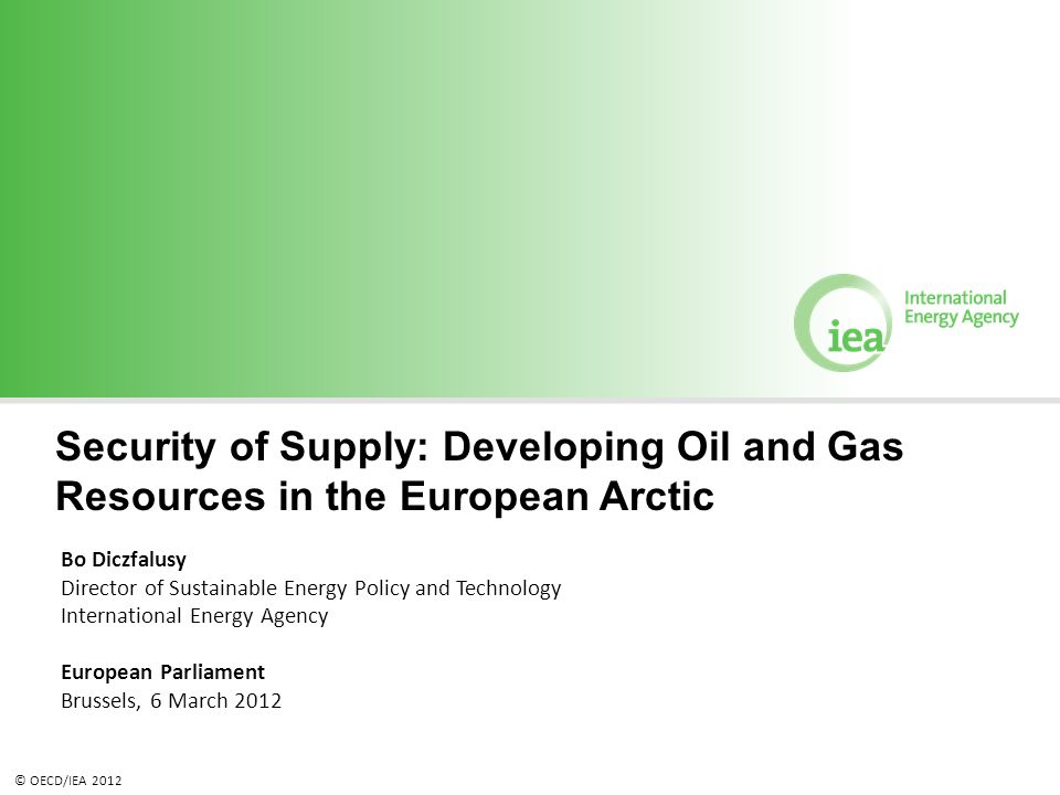 © OECD/IEA 2012 Security of Supply: Developing Oil and Gas Resources in the European Arctic Bo Diczfalusy Director of Sustainable Energy Policy and Te