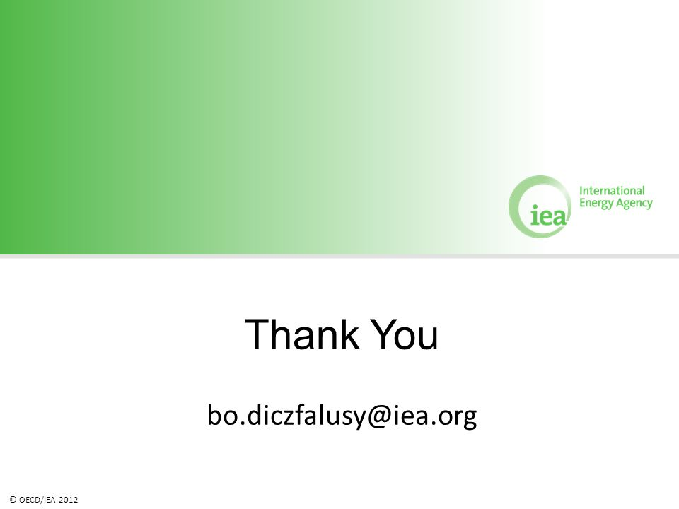 © OECD/IEA 2012 Thank You bo.diczfalusy@iea.org