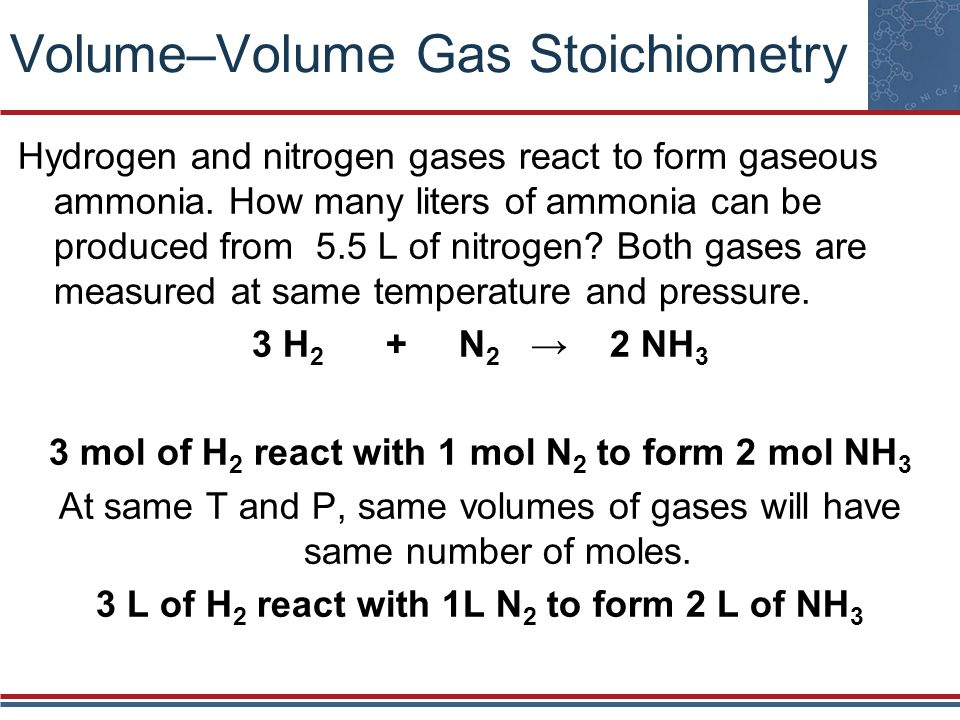 Volume–Volume Gas Stoichiometry Hydrogen and nitrogen gases react to form gaseous ammonia. How many liters of ammonia can be produced from 5.5 L of ni