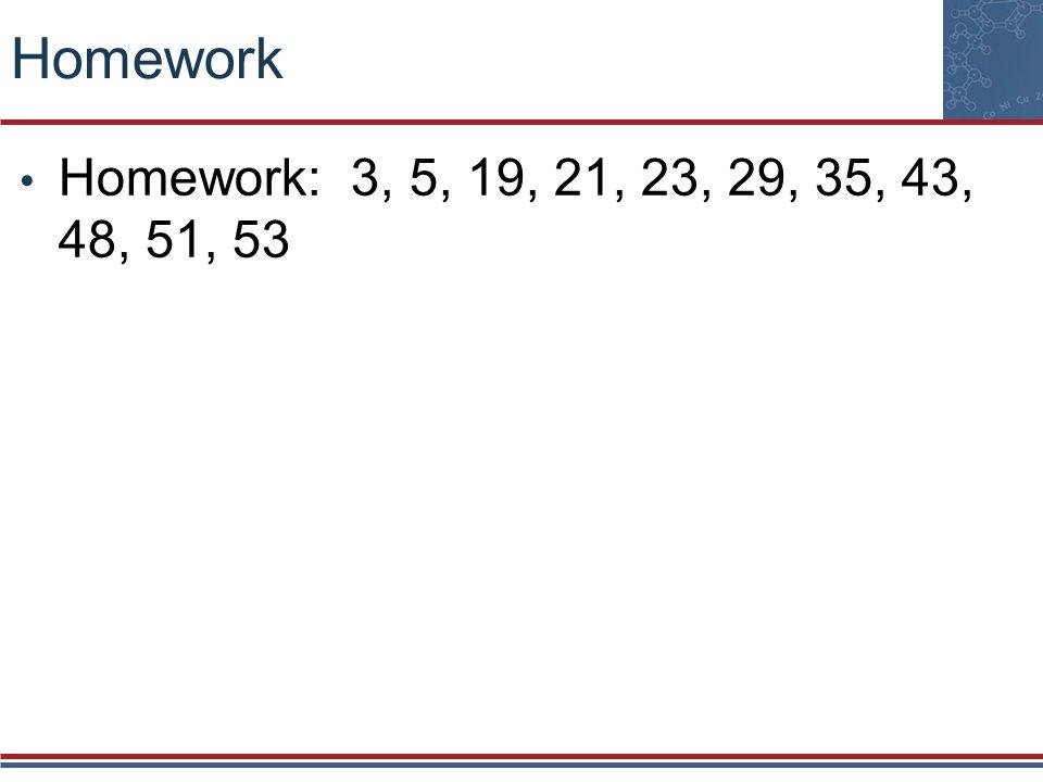 Homework Homework: 3, 5, 19, 21, 23, 29, 35, 43, 48, 51, 53