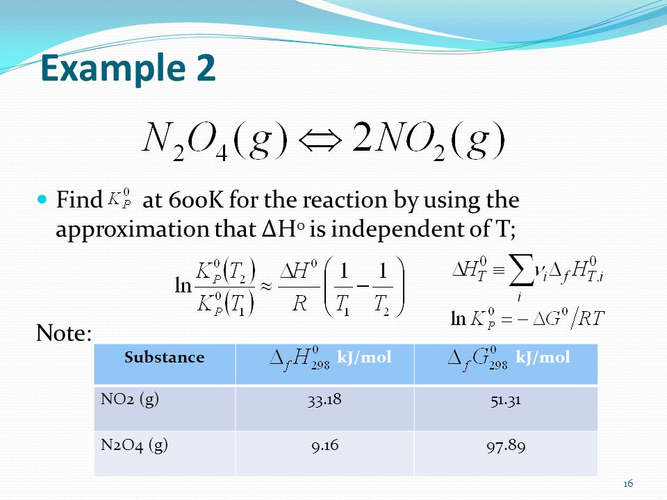 Example 2 Find at 600K for the reaction by using the approximation that ΔH 0 is independent of T; Note: 16 Substance kJ/mol NO2 (g)33.1851.31 N2O4 (g)