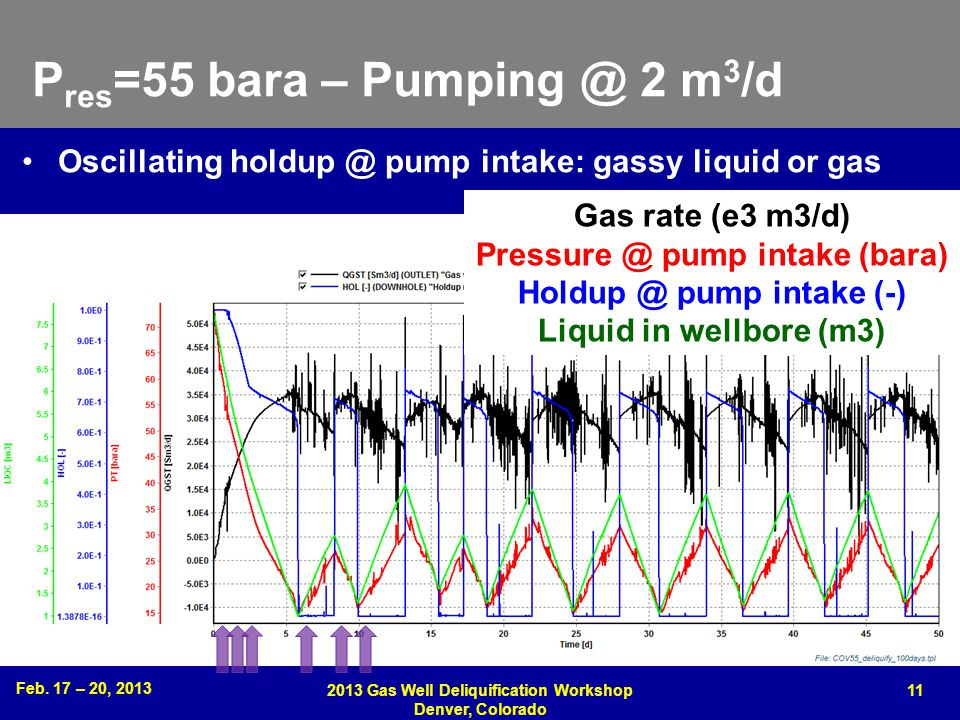Feb. 17 – 20, 2013 2013 Gas Well Deliquification Workshop Denver, Colorado 11 P res =55 bara – Pumping @ 2 m 3 /d Oscillating holdup @ pump intake: ga