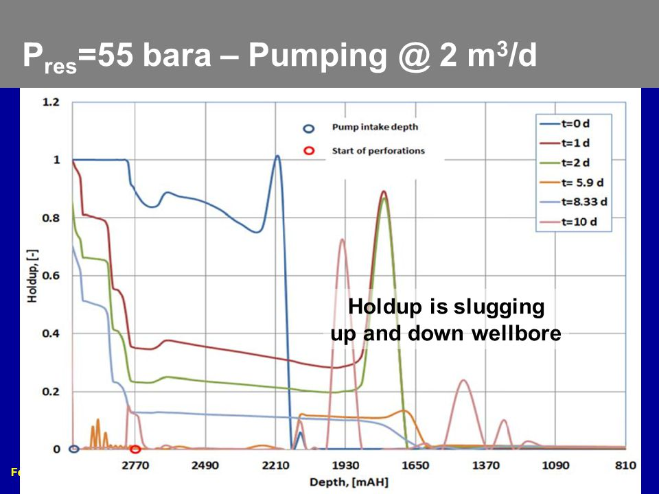 Feb. 17 – 20, 2013 2013 Gas Well Deliquification Workshop Denver, Colorado 12 P res =55 bara – Pumping @ 2 m 3 /d Holdup is slugging up and down wellb