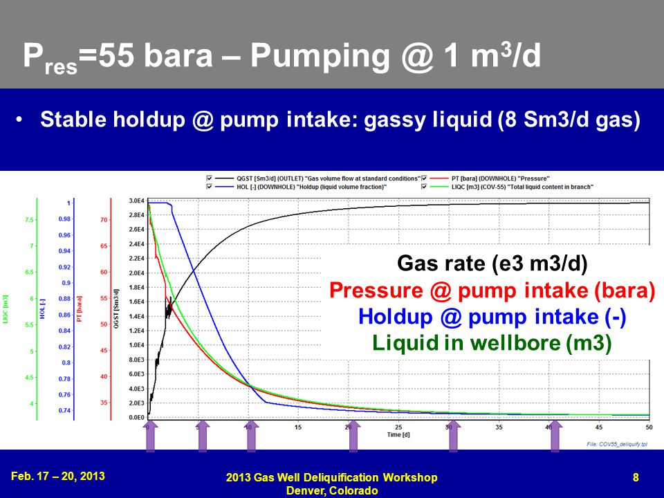 Feb. 17 – 20, 2013 2013 Gas Well Deliquification Workshop Denver, Colorado 8 P res =55 bara – Pumping @ 1 m 3 /d Gas rate (e3 m3/d) Pressure @ pump in
