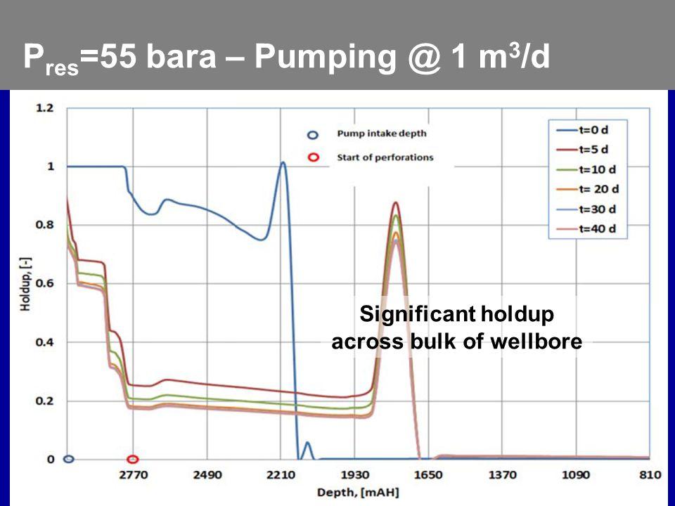 Feb. 17 – 20, 2013 2013 Gas Well Deliquification Workshop Denver, Colorado 9 P res =55 bara – Pumping @ 1 m 3 /d Significant holdup across bulk of wel