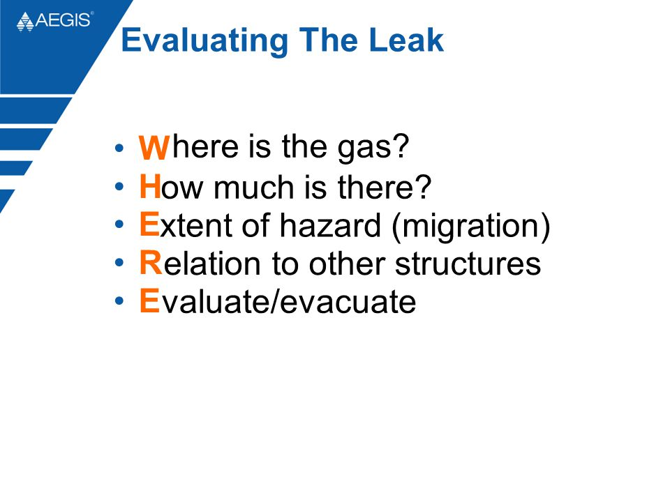 Evaluating The Leak here is the gas. W H E R E ow much is there.
