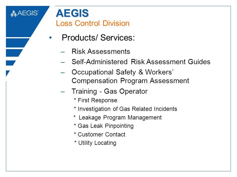 AEGIS AEGIS Loss Control Division Products/ Services: –Risk Assessments –Self-Administered Risk Assessment Guides –Occupational Safety & Workers Compensation Program Assessment –Training - Gas Operator * First Response * Investigation of Gas Related Incidents * Leakage Program Management * Gas Leak Pinpointing * Customer Contact * Utility Locating