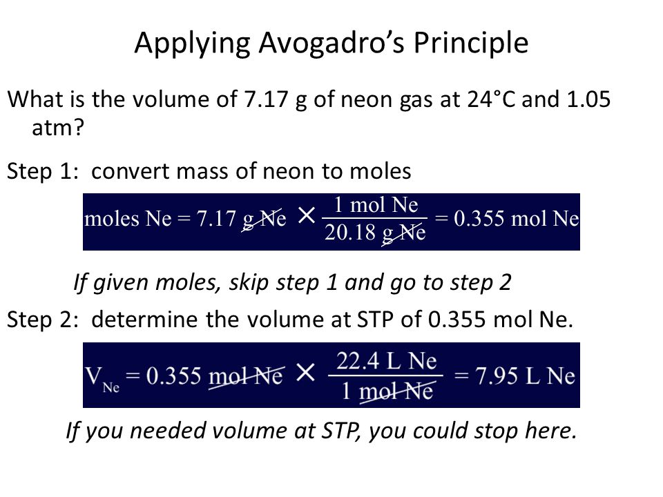 Applying Avogadros Principle What is the volume of 7.17 g of neon gas at 24°C and 1.05 atm.