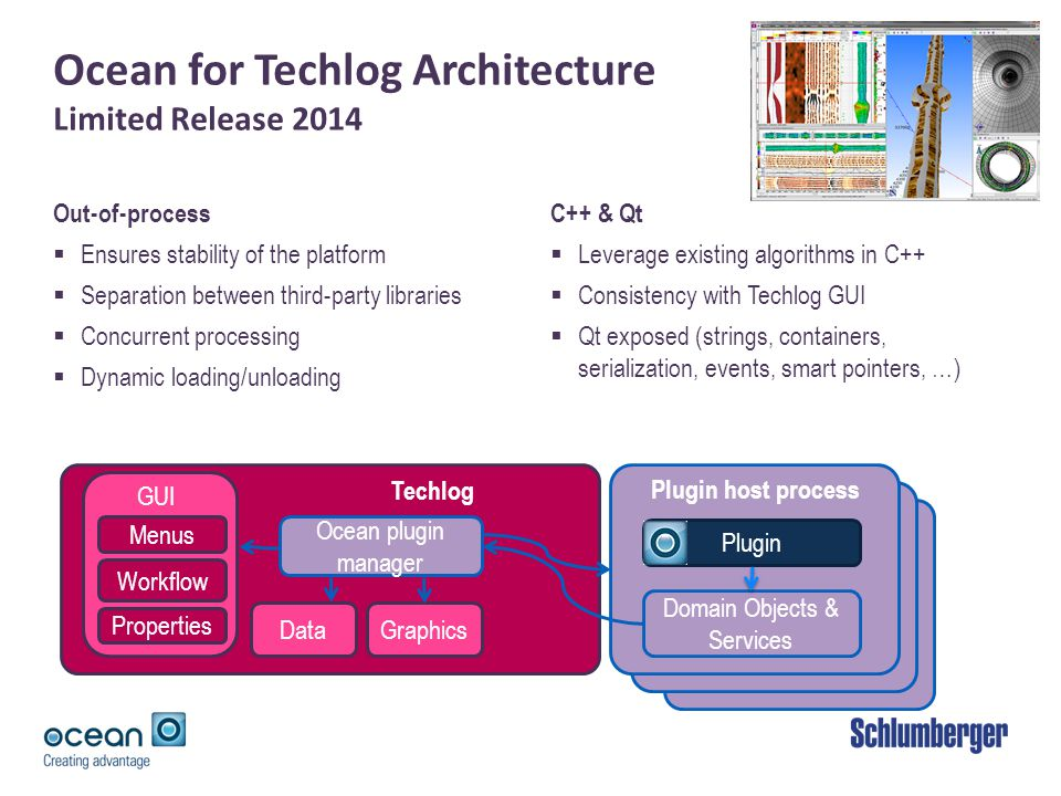 Ocean for Techlog Architecture Limited Release 2014 Out-of-process Ensures stability of the platform Separation between third-party libraries Concurrent processing Dynamic loading/unloading C++ & Qt Leverage existing algorithms in C++ Consistency with Techlog GUI Qt exposed (strings, containers, serialization, events, smart pointers, …) Ocean Plugin host process Plugin host process Techlog Plugin Ocean plugin manager Domain Objects & Services GUI Menus DataGraphics Properties Workflow