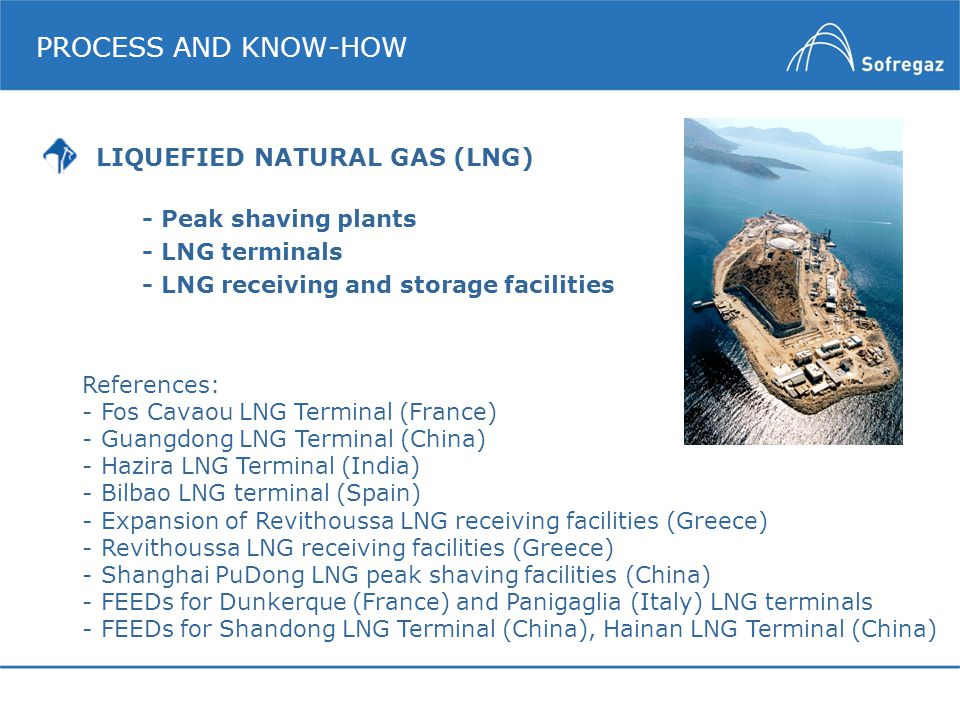 PROCESS AND KNOW-HOW -Peak shaving plants -LNG terminals -LNG receiving and storage facilities References: -Fos Cavaou LNG Terminal (France) -Guangdon