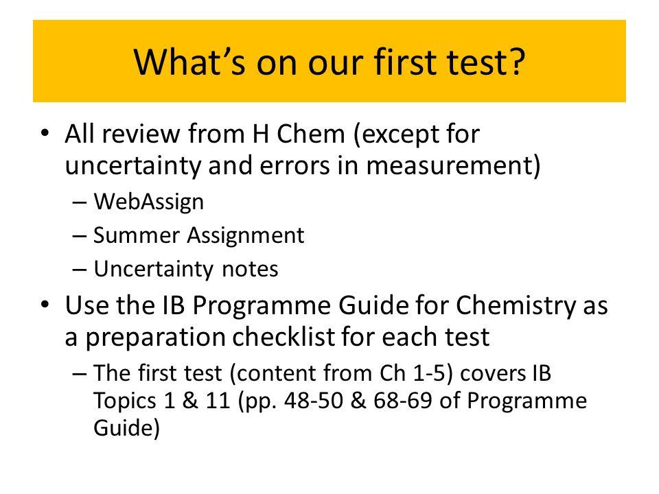 Unit 1 Review Quantitative Chemistry AP Chapters 1-5 IB Topic 1: Quantitative Chemistry